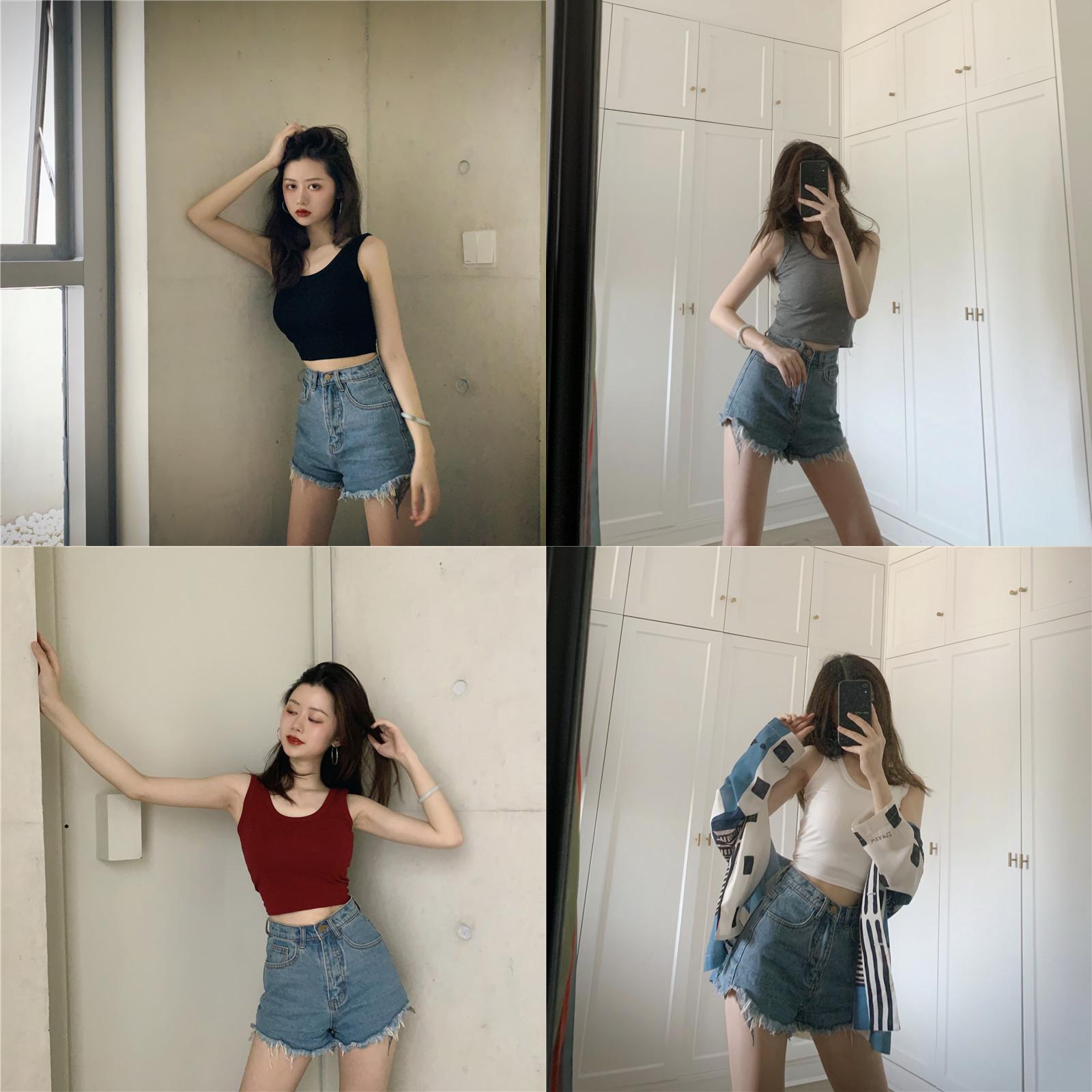 夏季泫雅外穿美背背心性感露脐短款小吊带上衣修身内搭打底衫女装