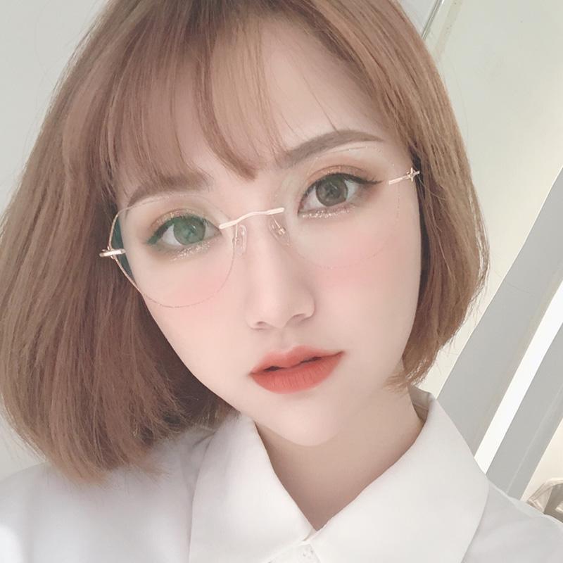 抖音小紅書同款近視眼鏡女韓版潮網紅款無框切邊眼鏡框可配有度數