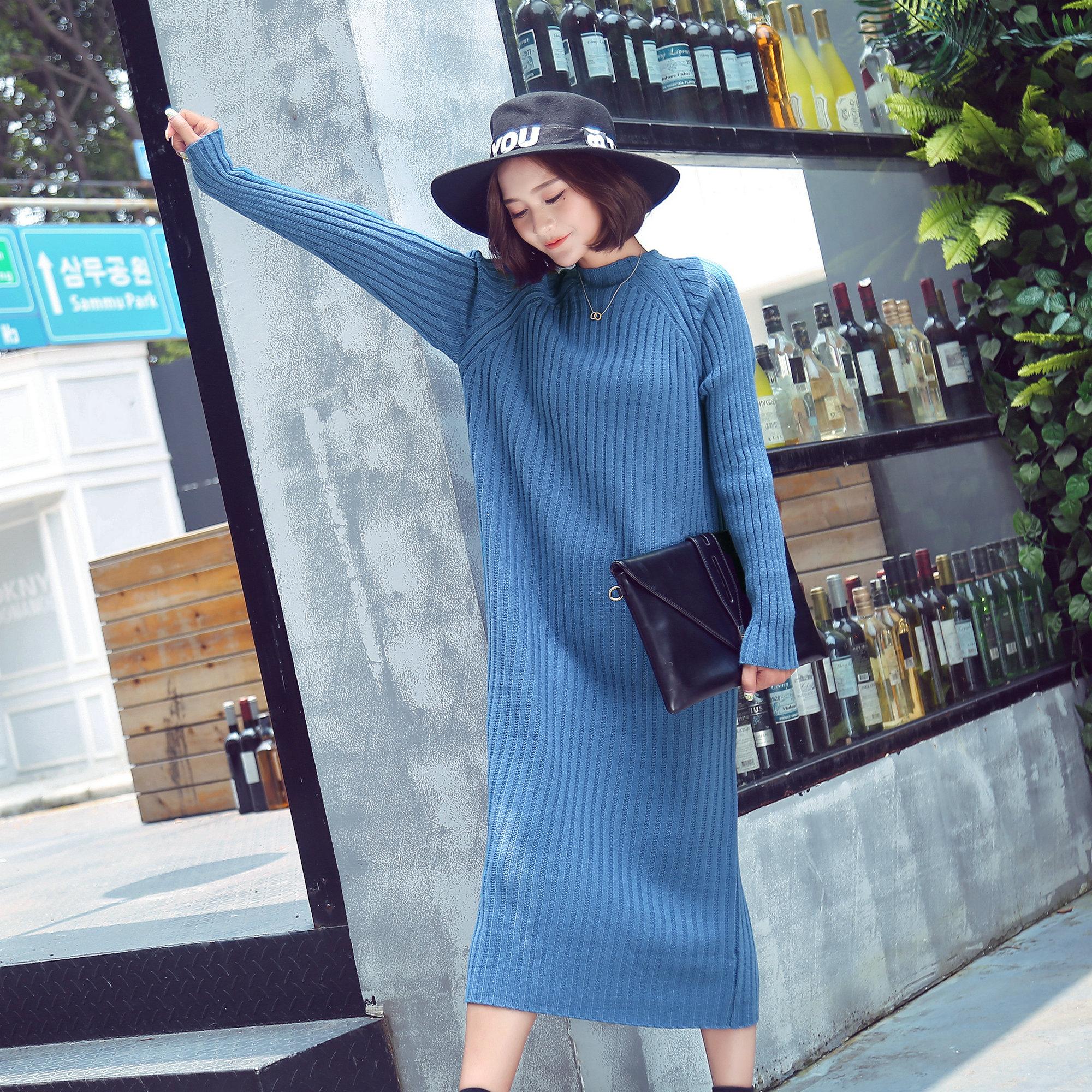 秋冬新款韩版圆领套头加厚大码宽松过膝超长打底针织毛衣女连衣裙