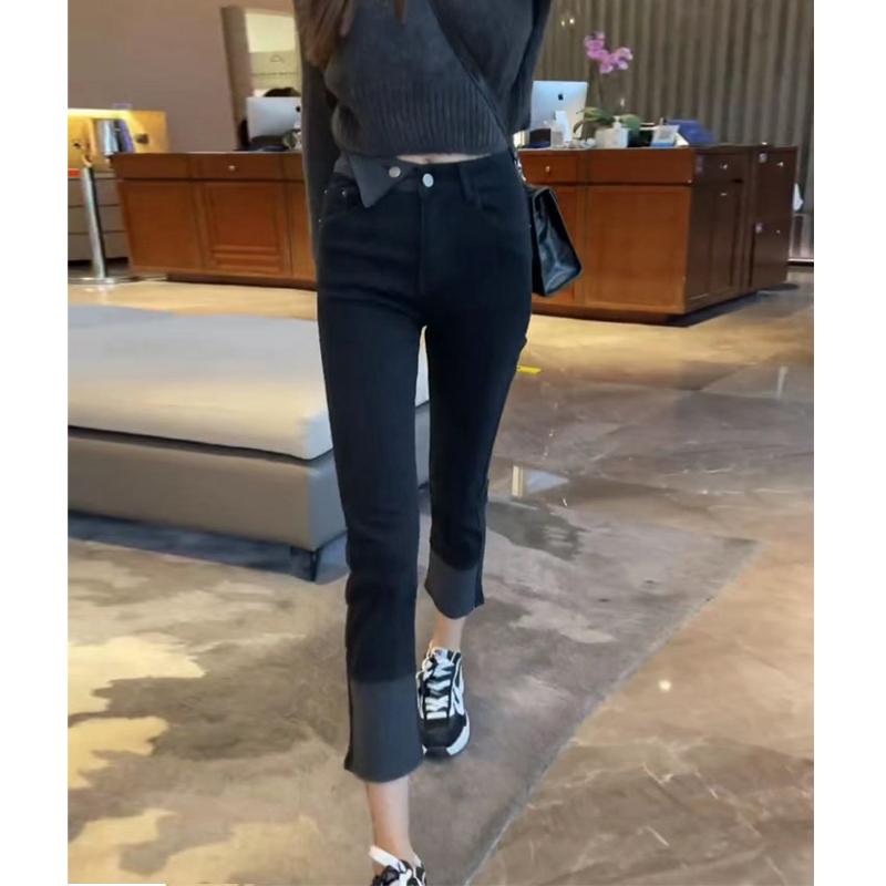 女装2021新款潮胖妹妹大码高腰弹力加绒直筒牛仔裤女梨形身材裤子 No.2