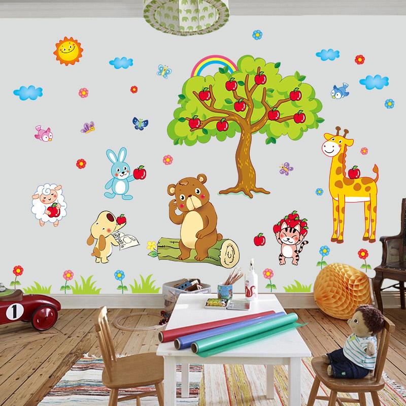 创意卡通墙贴纸温馨儿童房墙纸自粘卧室温馨装饰墙贴量身高贴贴纸