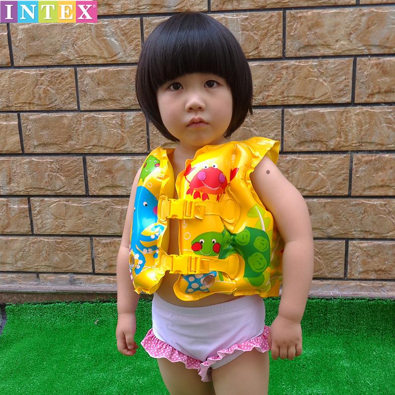 美國正品INTEX包郵兒童救生衣卡通小魚造型寶寶嬰兒游泳戲水背心
