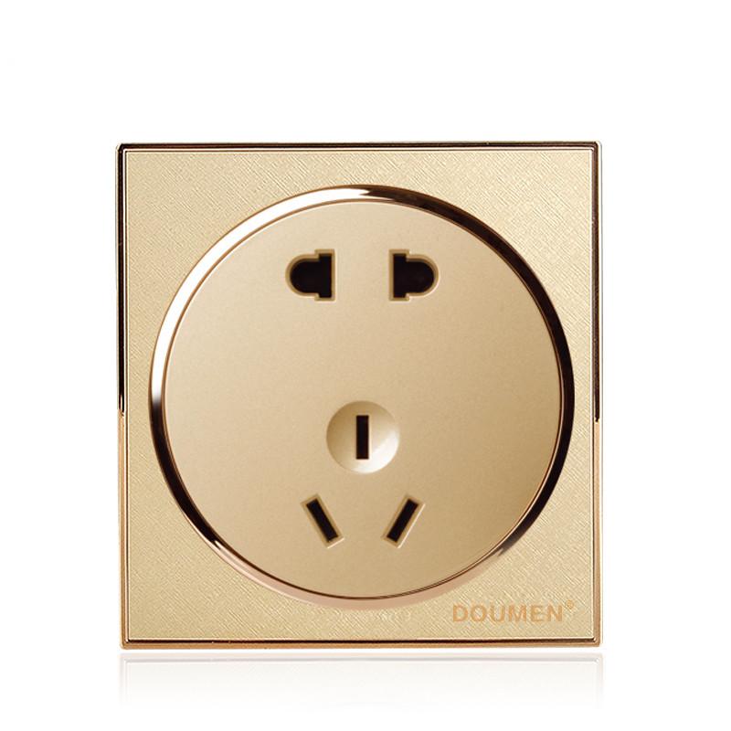 国际电工香槟金暗装开关插座套餐二三插座面板86型五孔电源插座
