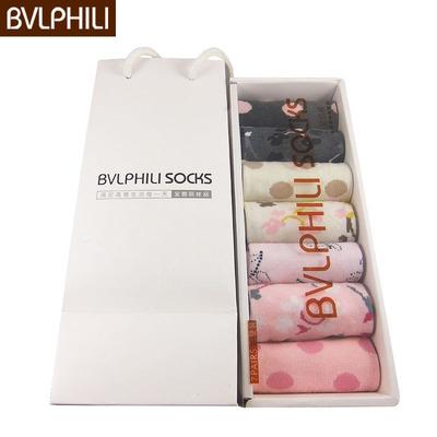 BVLPHILI女款袜子 秋冬季女士袜中筒防臭七天礼盒袜 糖果色女棉袜