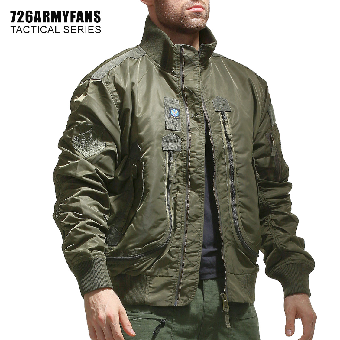 726GEAR 軍迷春秋新品空軍飛行員單夾克男棒球服短款戰術立領外套