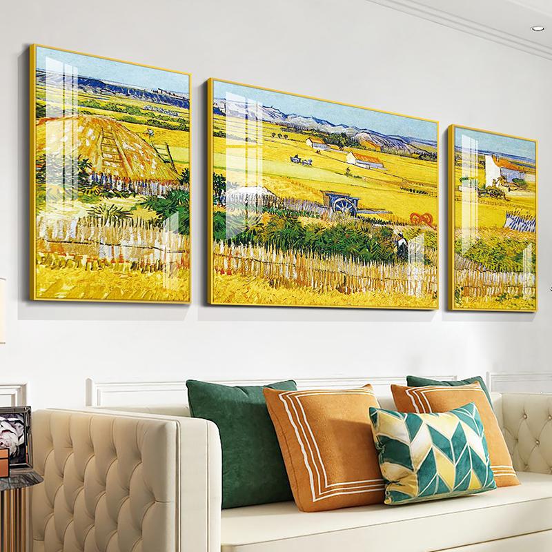 梵高北欧风格晶瓷沙发客厅装饰画