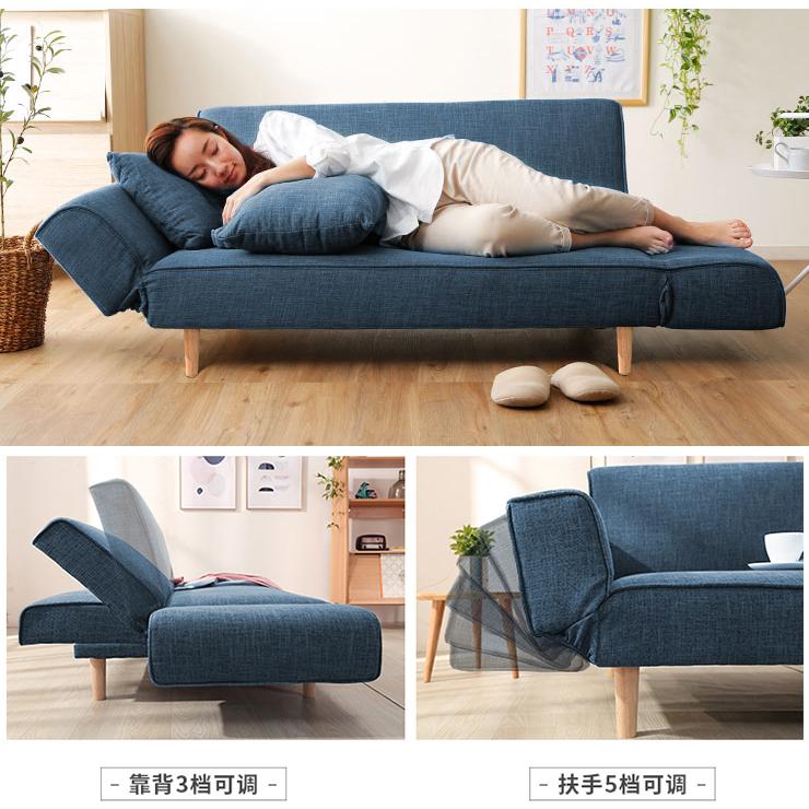 木优懒人沙发小户型 单双人折叠沙发床两用 卧室网红款现代简约