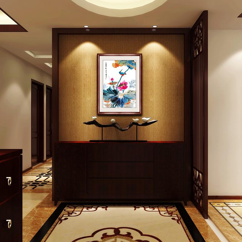 国画中式挂画玄关装饰画餐厅挂画手绘真迹走廊壁画荷塘情趣