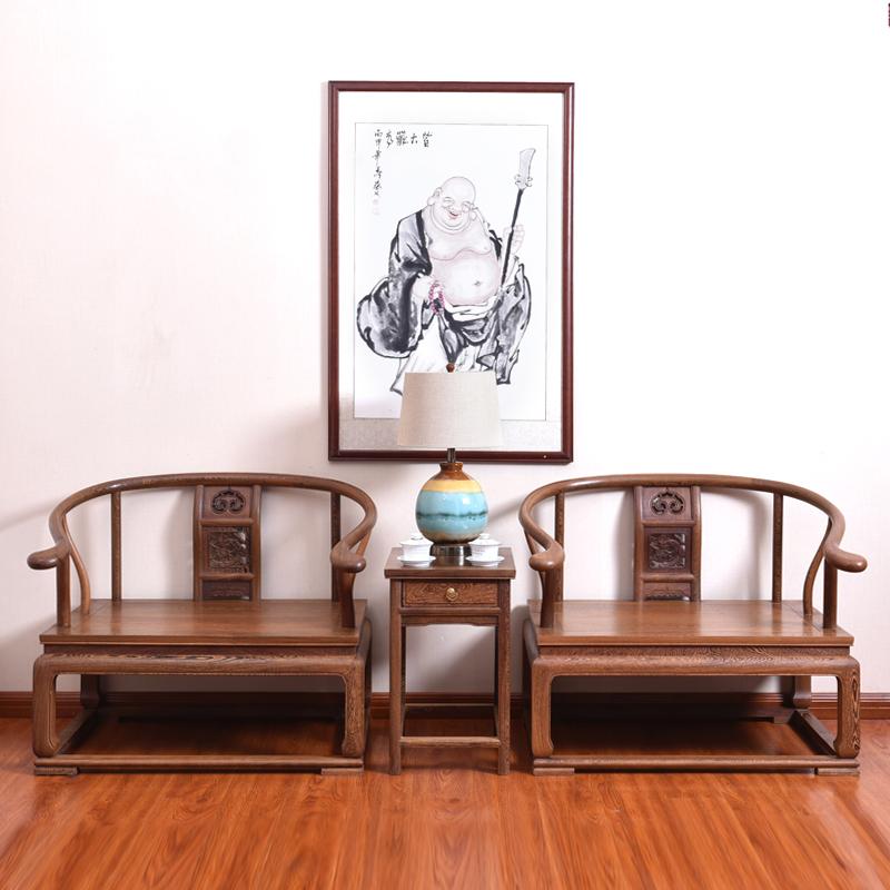 红木家具鸡翅木太师椅圈椅打坐椅中式禅椅实木靠背椅仿古椅子原木