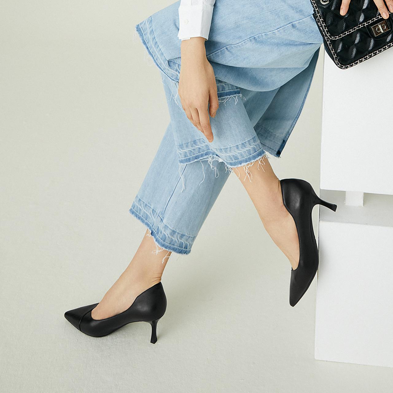 V5L1DCQ0 秋新商场同款羊皮尖头细跟单鞋 2020 百丽通勤高跟鞋女