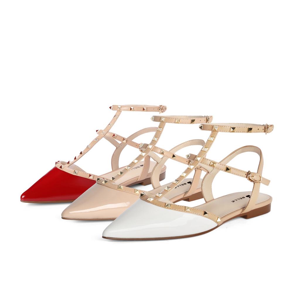 聚 3KZC4BH1 夏新商场同款平底女漆皮铆钉气质包头时装凉鞋 2021 百丽