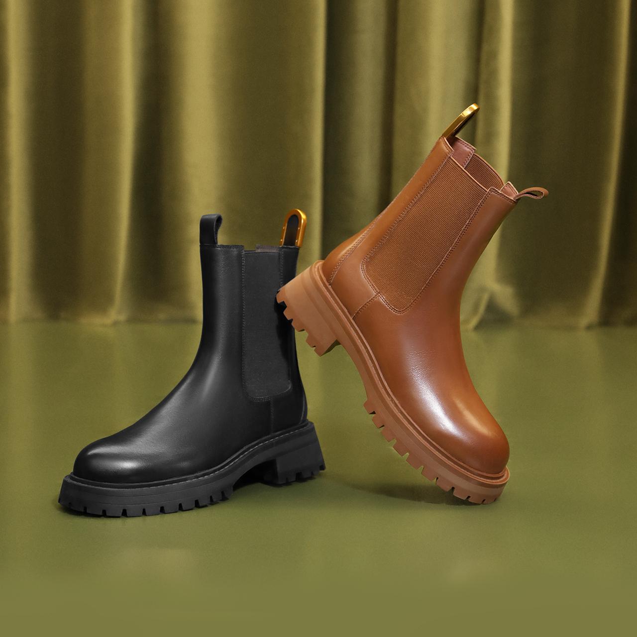 X1R2DDZ1 冬新李宇春同款潮复古英伦烟筒靴加绒 2021 百丽切尔西靴女
