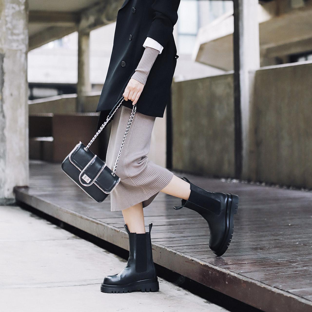 预聚 77211DZ0 冬新英伦风中筒烟筒靴加绒 2020 百丽黑可可切尔西靴女