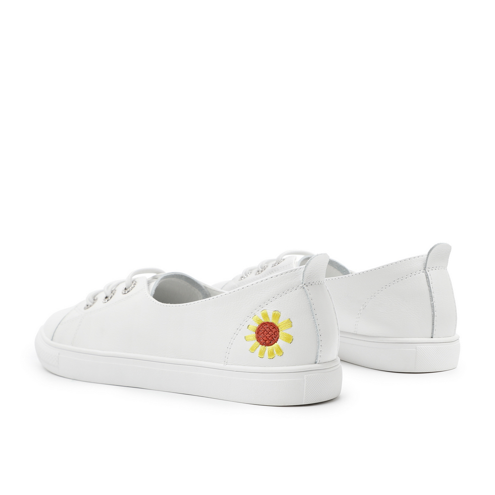 V4H1DCM0 春夏商场新款向日葵刺绣休闲平底鞋 2020 百丽小白天使鞋女