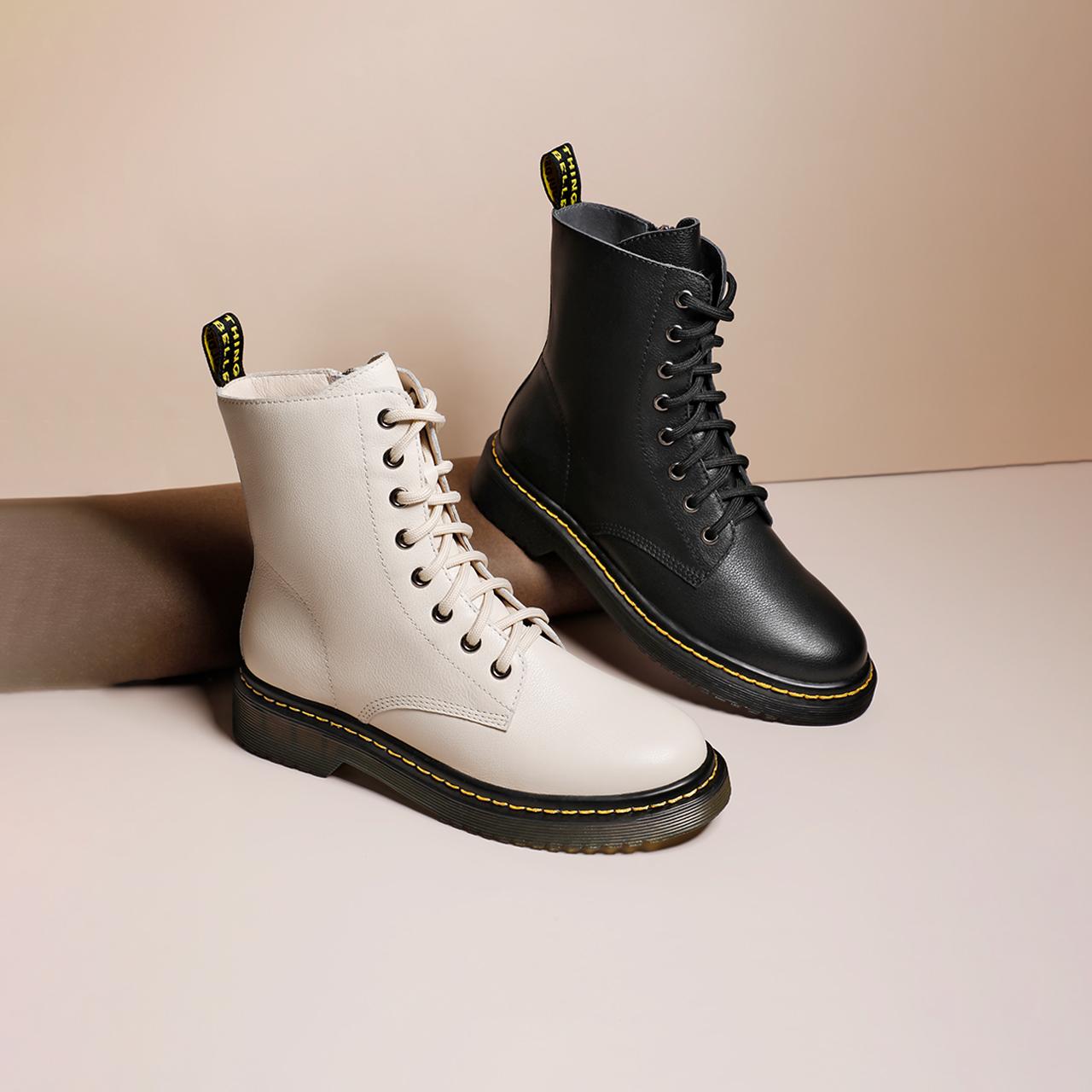 U7G1DDD9 冬商场新款女加绒保暖英伦短靴 2019 孔马丁靴 8 百丽