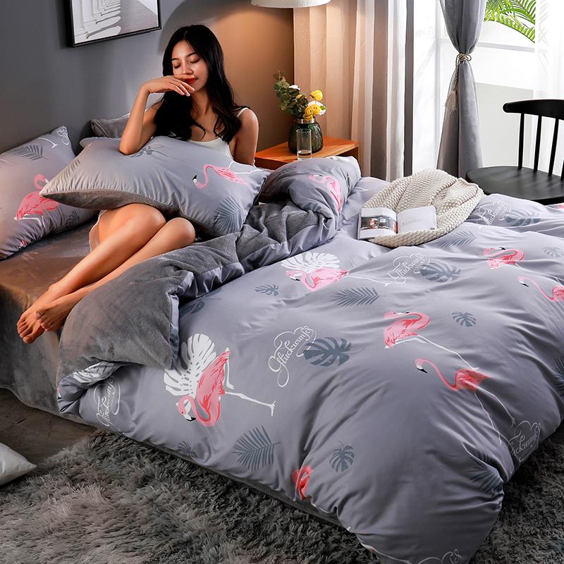 AB珊瑚绒法兰绒四件套冬季加厚保暖法莱绒床单被套三件套床上用品