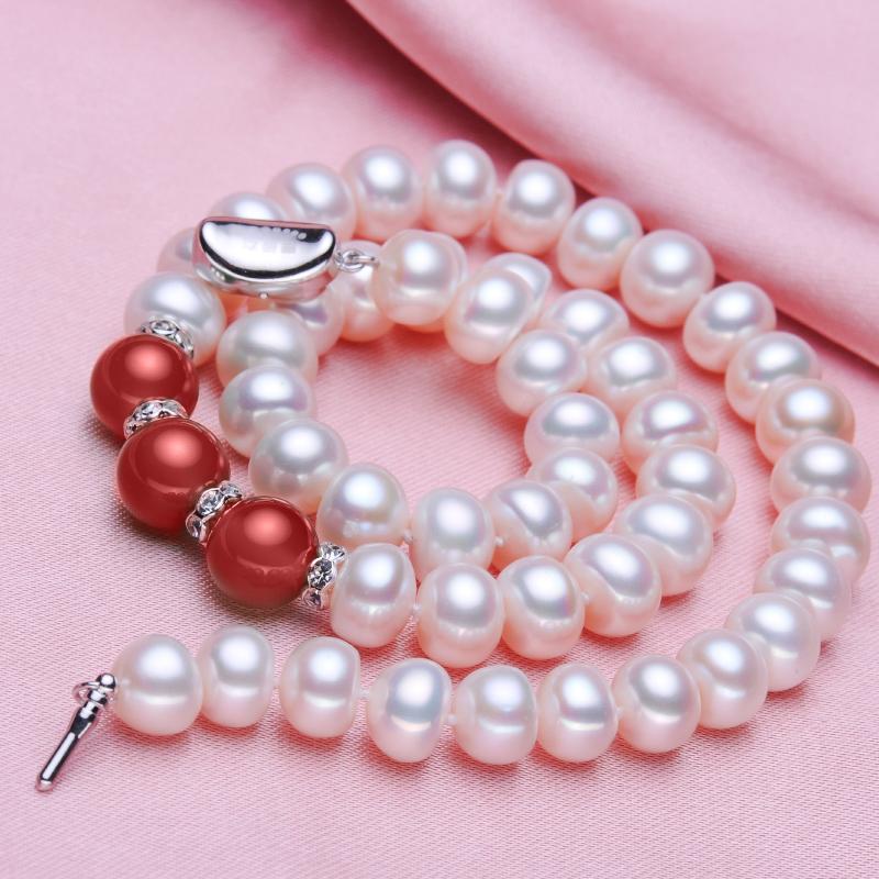 正品白色淡水珍珠项链女送天然妈妈婆婆买一送三礼物 欧梵丽珍珠