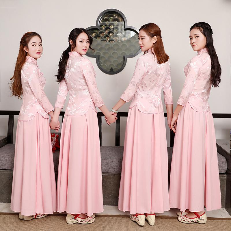 伴娘服中式婚礼粉色复古民国风女装姐妹团毕业照古筝表演演出服