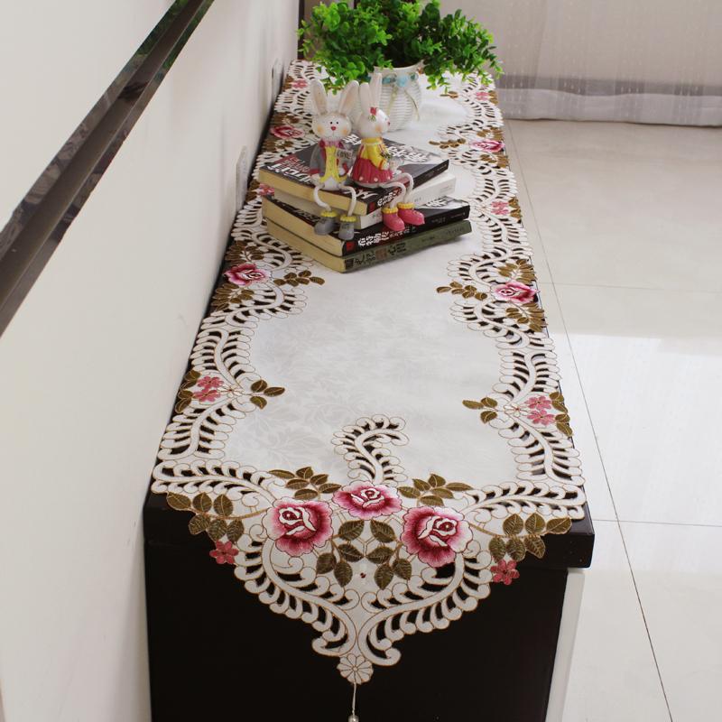 蕾丝电视柜餐桌桌旗欧式绣花茶几桌旗现代简约时尚中式床旗床尾巾