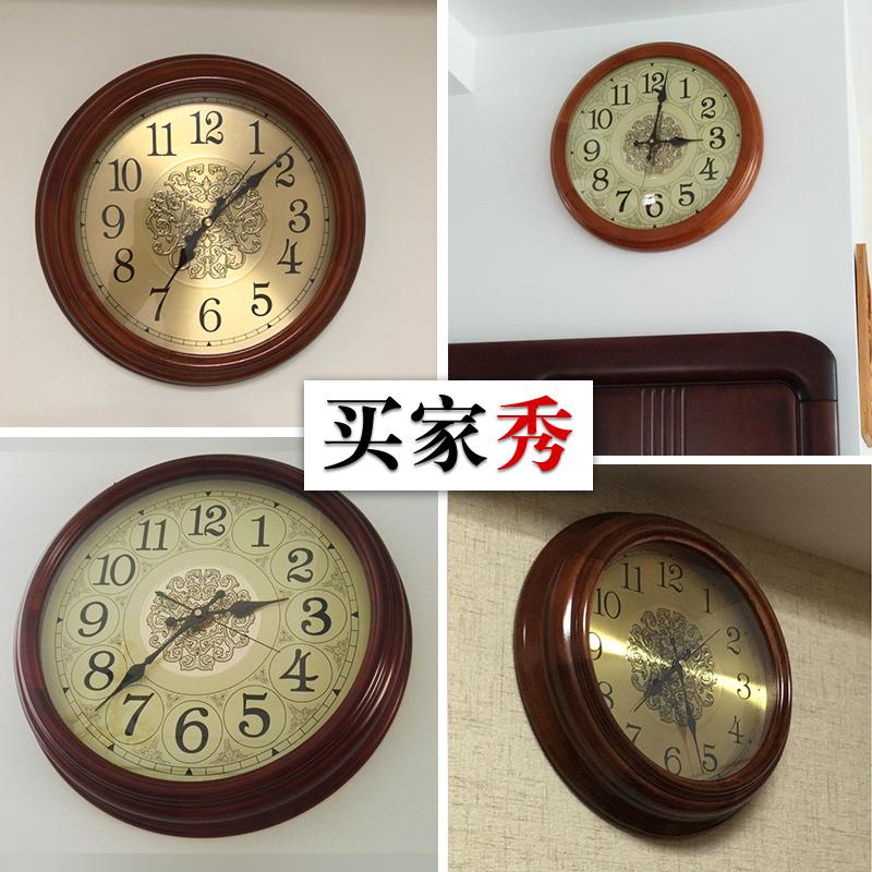欧式家用时钟挂钟客厅创意石英挂表个性实木大气时尚美式电波钟表