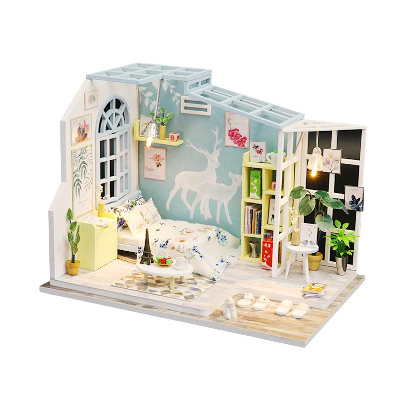 diy小屋手工创意制作房子模型拼装阁楼艺术屋别墅送生日礼物男女