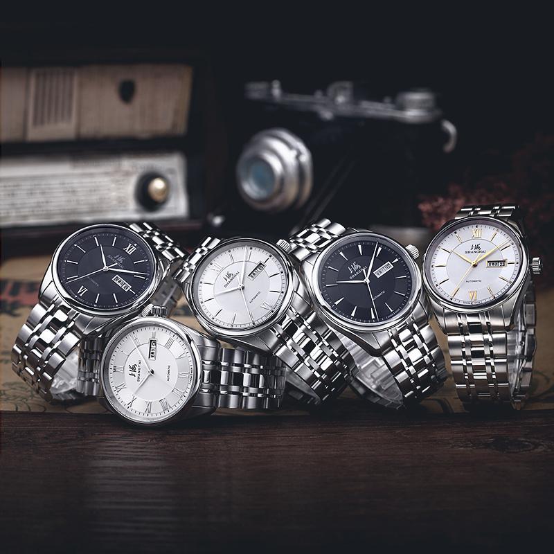 【1元起拍 全新正品】经典爆款上海手表自动机械透底3008