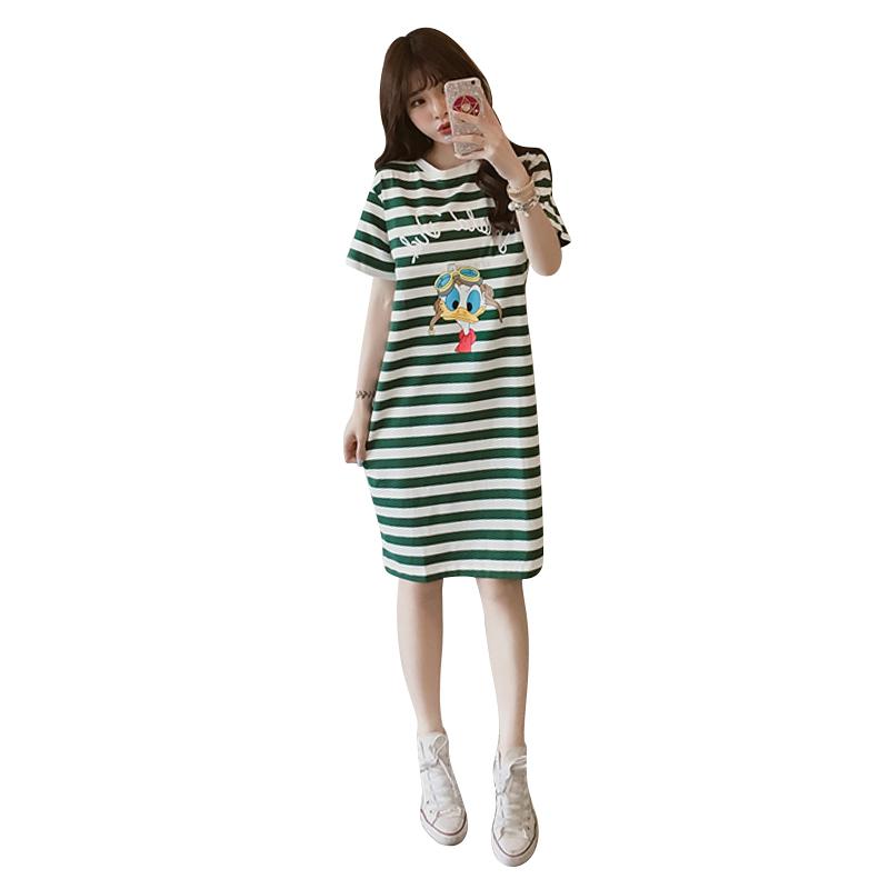 孕妇产后大码哺乳衣外出夏装新款条纹哺乳裙短袖哺乳连衣裙喂奶衣
