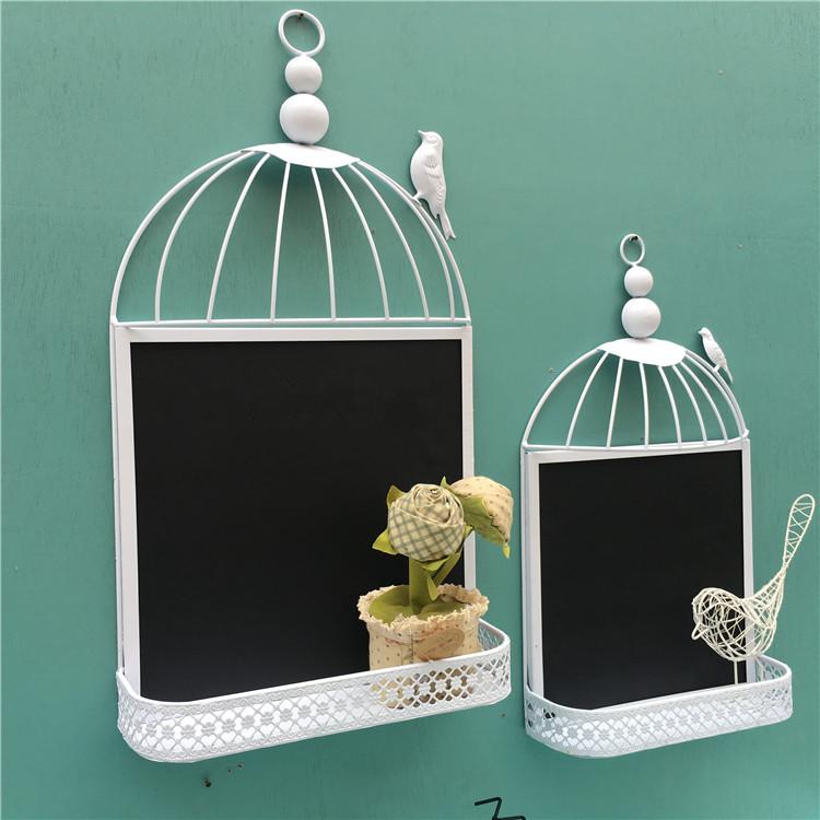 創意裝飾黑板收納壁掛壁飾牆飾 法式田園留言板復古懷舊鐵藝鳥籠