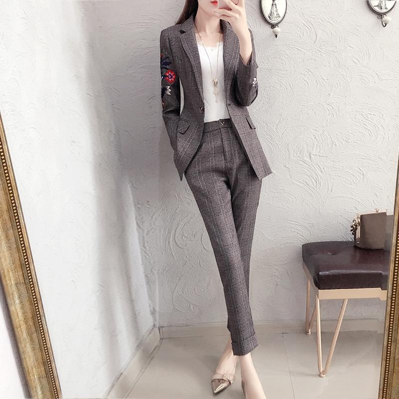 刺绣休闲西装套装女2018秋季新款复古修身西服格子裤子气质两件套