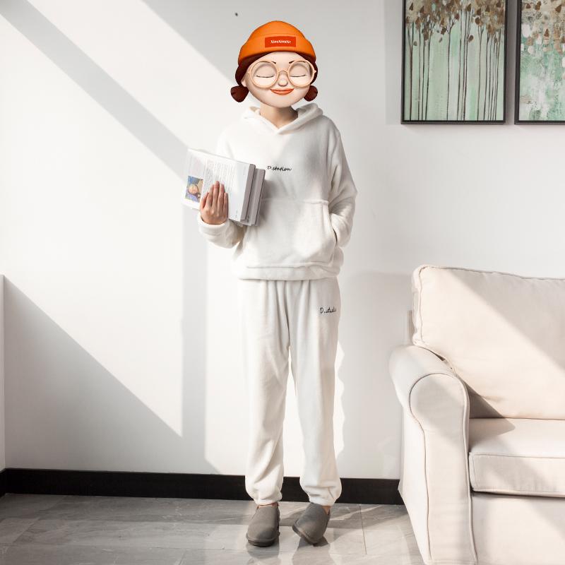 网红仙女暖暖裤套装珊瑚绒外穿卫衣宽松加绒休闲秋冬季运动两件套