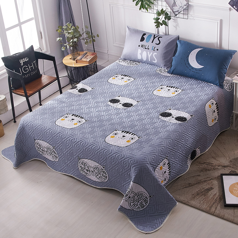 纯棉床盖单件三件套绗缝被全棉床单夹棉加厚的铺盖垫衍缝床上韩国