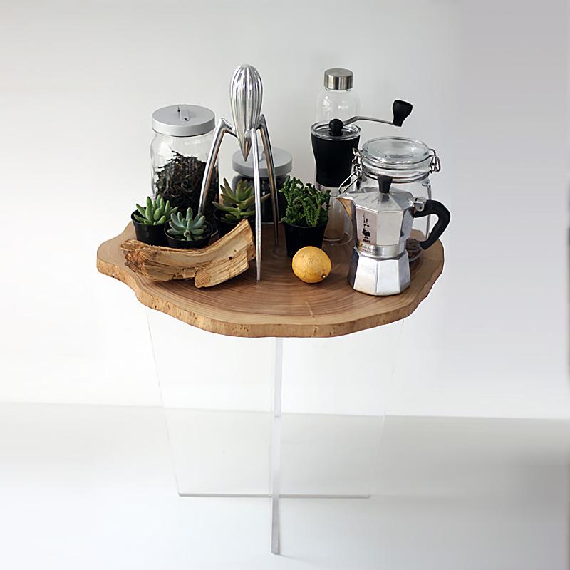 【浮几】原木年轮茶几北欧茶几实木小边几简约现代日式小圆几边桌
