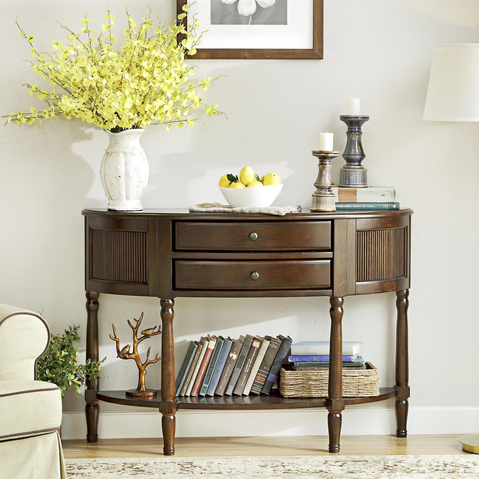 美式半圆桌玄关台客厅简约玄关柜隔断柜全实木门厅边桌装饰储物柜