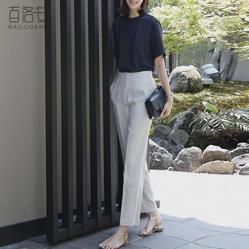 百洛安衬衣女2021夏装新款韩版简约短袖上衣休闲气质圆领t恤衬衫主图