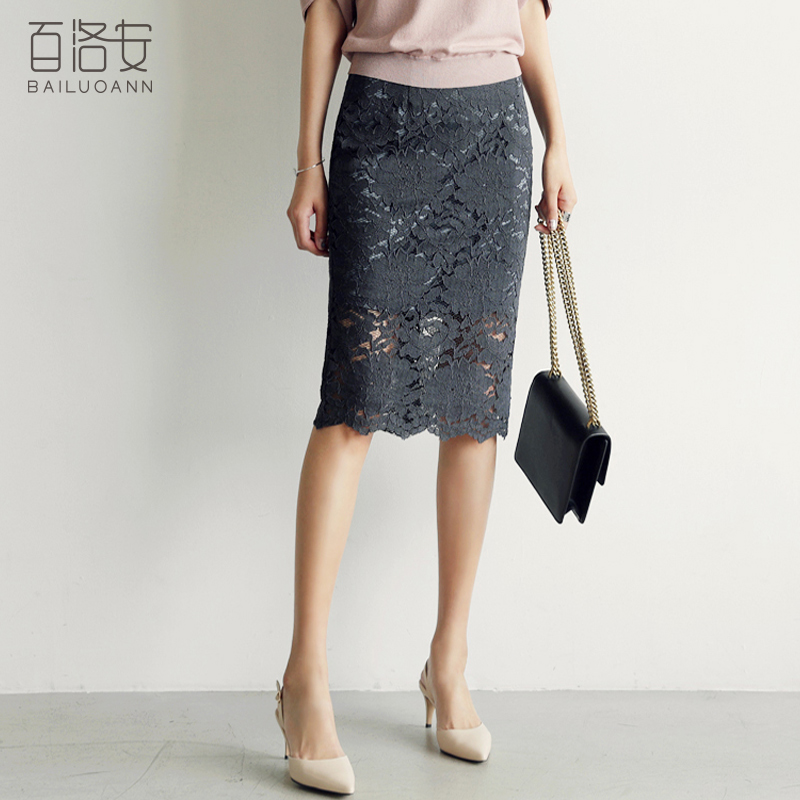 百洛安蕾丝半身裙镂空裙子女夏季2019新款中长款一步裙百搭包臀裙