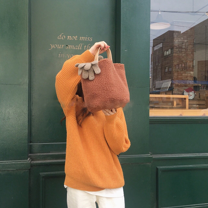 羊羔毛少女时尚百搭简约大容量单肩手提包 ins 新款秋冬 2018 包包女