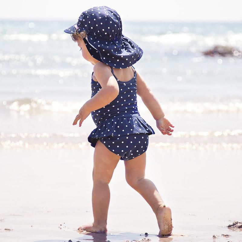 英國寶寶防晒遮陽帽 夏季女護頸帽沙灘帽子嬰兒童防紫外線鴨舌帽