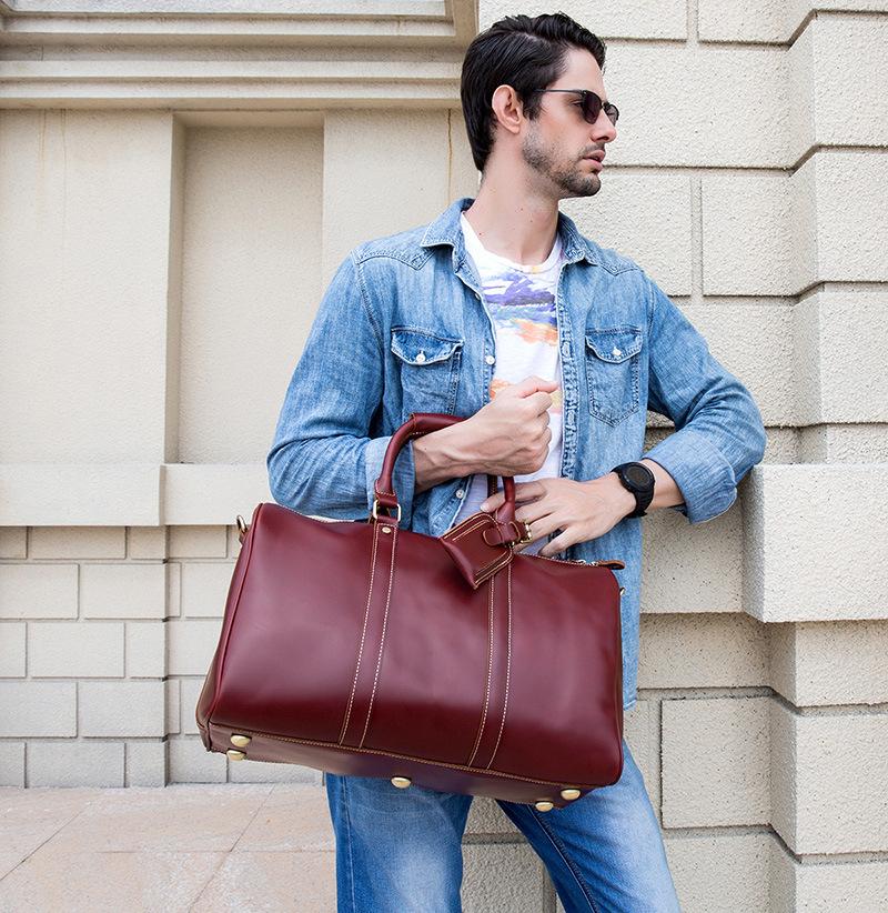 新品复古男士手提行李袋欧美真皮旅行包头层牛皮大容量单肩斜挎女