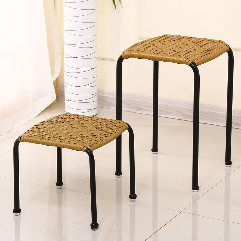 编织塑料凳子家用创意儿童宝宝小板凳宜家凳子高低凳餐桌方凳藤凳