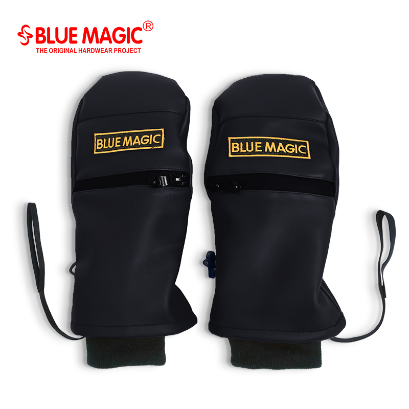 仿山羊皮滑雪手套保暖耐磨可操作手 男女单板手套防水 Bluemagic