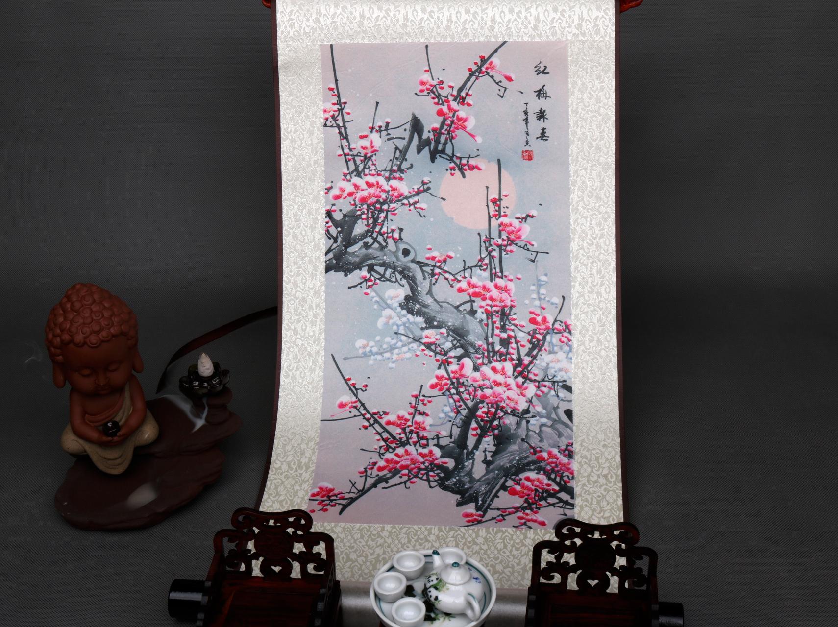 丝绸画花鸟画国画客厅装饰画礼品画卷轴画喜上眉梢紫色梅花好运画