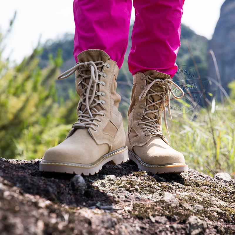 春夏季高幫登山鞋女防水防滑旅行爬山越野戶外徒步鞋男真皮沙漠靴