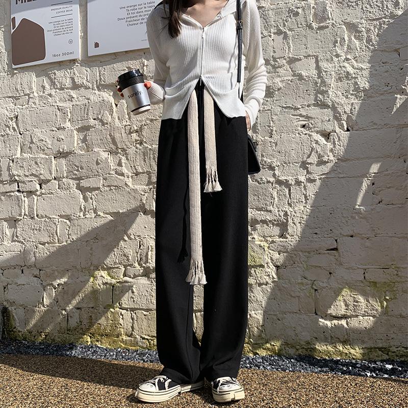 抽绳阔腿裤女秋冬高腰垂感宽松直筒加绒运动裤子显瘦百搭休闲卫裤