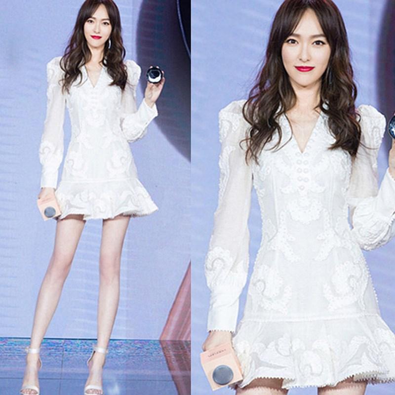 唐嫣明星同款连衣裙名媛气质修身显瘦白色蕾丝鱼尾小礼服短裙女夏