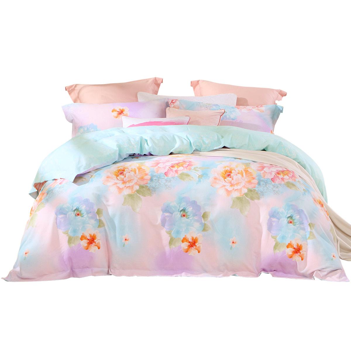 百丽丝家纺全棉磨毛印花四件套花溪碧被套床单加厚保暖床上用品