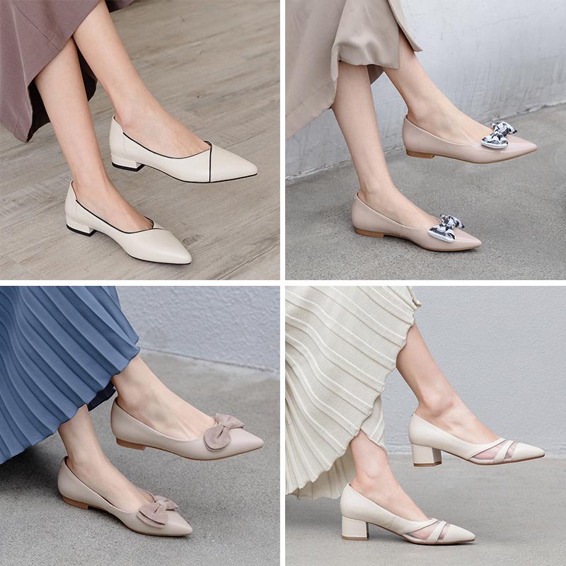 【断码清仓捡漏】品牌处理折扣真皮女鞋子2020新款平底单鞋女粗跟