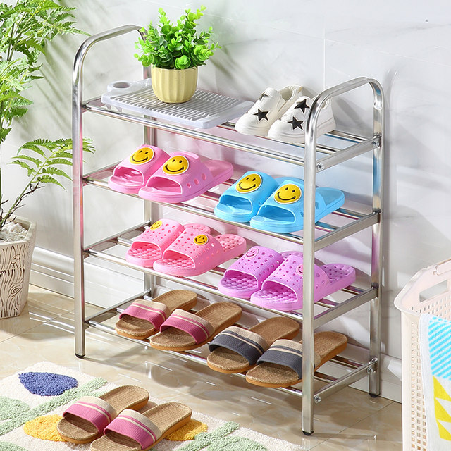 Stainless steel shoe bedroom dust shoe shelf multi-storey household storage shoe cabinet dormitory simple economy shoe frame