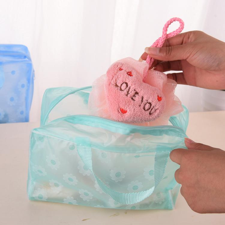 便携透明防水旅行出差收纳袋洗浴包男女手提洗澡浴兜洗漱包收纳袋