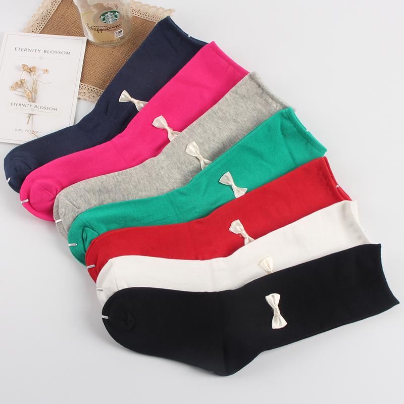 女童中筒襪純棉小公主長襪春秋季半筒襪松口韓版可愛蝴蝶結堆堆襪