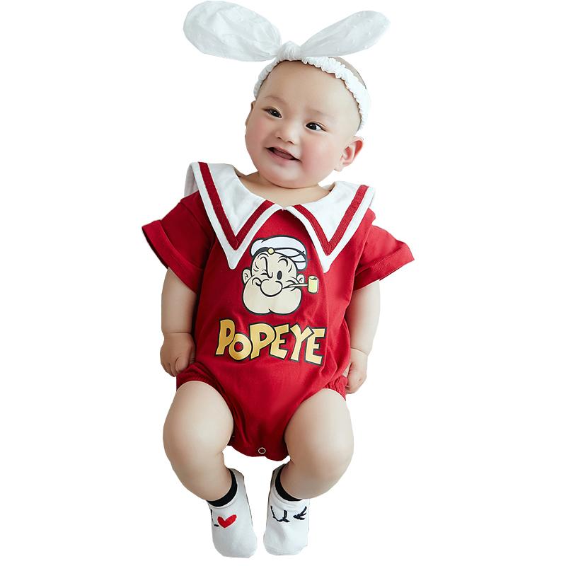 炸街亲子装翻领婴儿一家三口四口母子母女装夏季大力水手短袖 恤  t